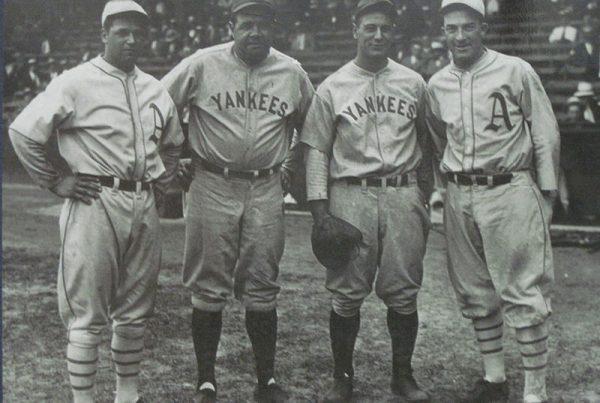 Jimmie Foxx, Babe Ruth, Lou Gehrig, and Mickey Cochrane WikiCommons Muboshgu