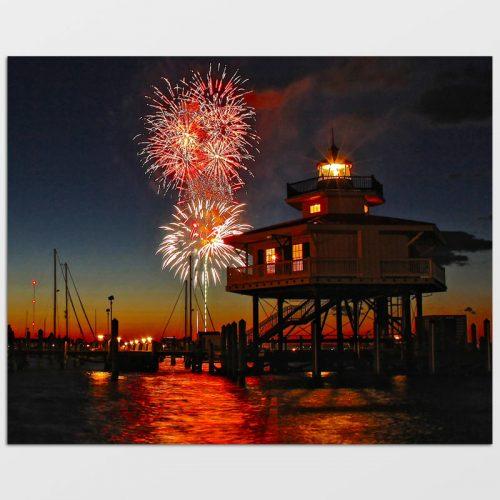 Choptank River Lighthouse Fireworks Photo Print