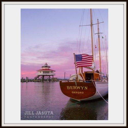 Sloop, Flag, Lighthouse on the Eastern Shore