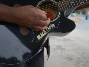 Detail on Black Elvis's Guitar