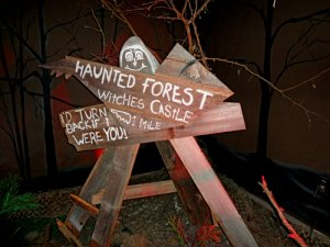 Haunted Forest Sign for Eastern Shore of Maryland & Southern Delaware Halloween Guide