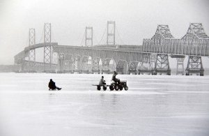 Kids having fun on the Chesapeake Bay ice during the Eastern Shore deep freeze of 1977/78 in Maryland