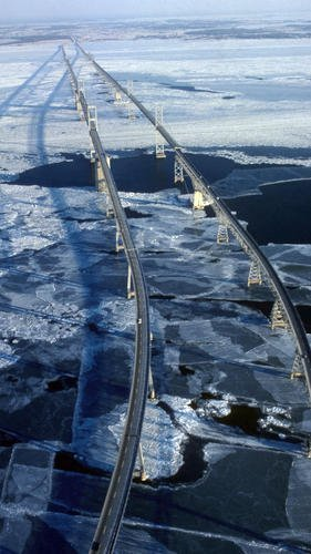 The Chesapeake Bay Bridge in Maryland during the Eastern Shore deep freeze in the winter of 1977/78