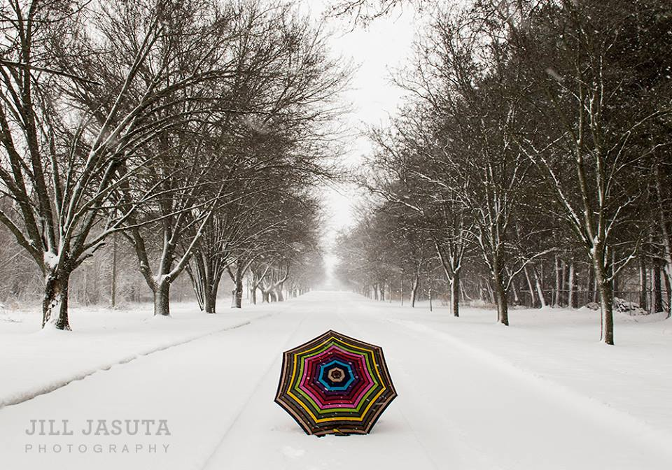 Umbrella in the Snow on Eastern Shore Backroad