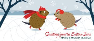 Muskrats in Winter Greeting Card from the Valentines Collection at Secrets of the Eastern Shore
