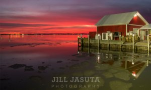 Wintry Mix: Sunset at T.L. Morris Seafood in Talbot County on Maryland's Eastern Shore