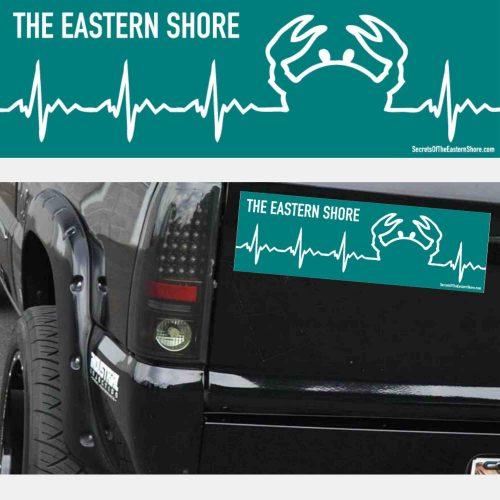 Crab EKG Decal White on Teal