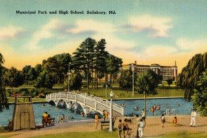 Postcard of City Park in Salisbury on Maryland's Eastern Shore