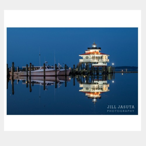 Lighthouse at Twilight Greeting Card by Secrets of the Eastern Shore