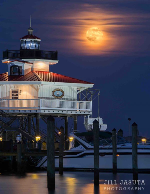 Moonrise at the Choptank River Lighthouse on the Eastern Shore