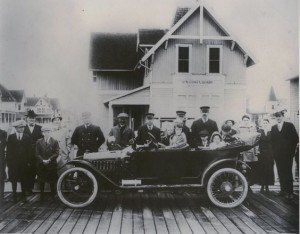 Francis Townsend of Ocean City, Maryland shows off his car, 1915