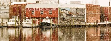 Snowfall at J.M. Clayton Seafood Panoramic