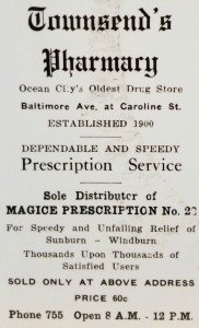 Townsend Pharmacy Advertisement from Ocean City, Maryland
