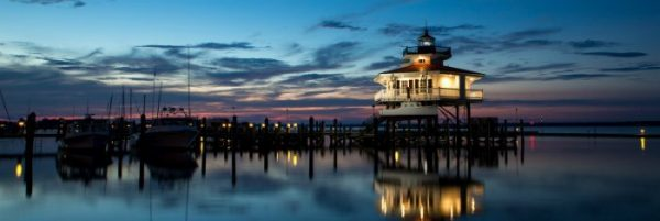 Choptank River Lighthouse Panoramic Curved Metal Print Product