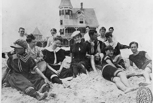 Beach scene in front of the Plimhimmon Hotel in Ocean City, Maryland