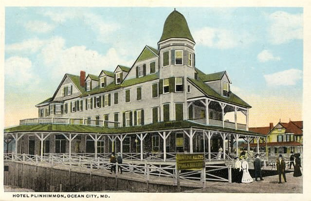 Postcard of the Plimhimmon Hotel in Ocean City, Maryland