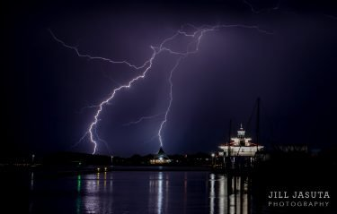 Lightning at the Lighthouse in Cambridge, MD