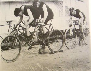 Cycle club members in Cambridge, Md. demonstrate racing techniques
