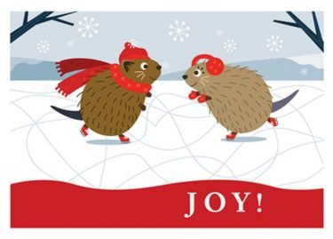 Muskrats on Ice Christmas Card