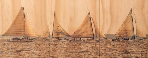 Panoramic Skipjacks on Wood