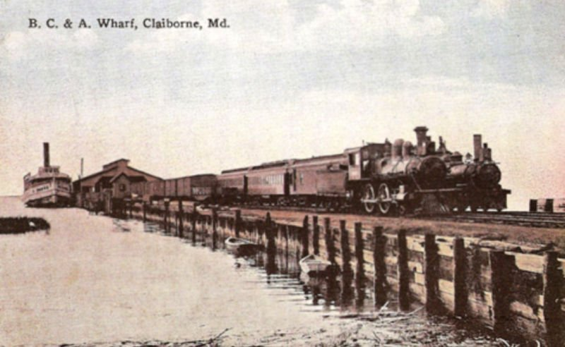 A train Leaves the steamboat wharf at Claiborne, Maryland