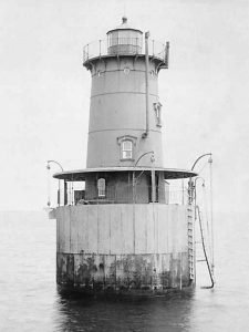 Sharps Island Light in the 1880s when it was Upright