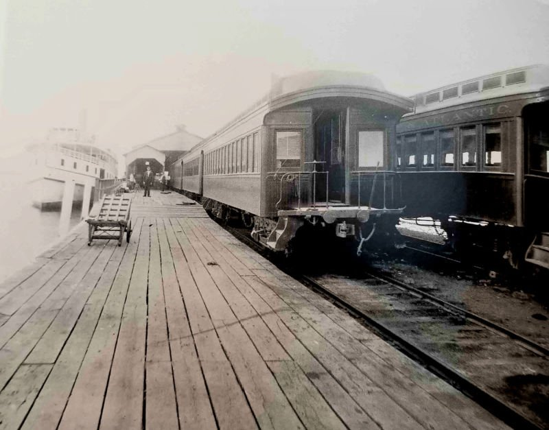 Steamship Cambridge II docked at Claiborne, Md. right next to the railroad line